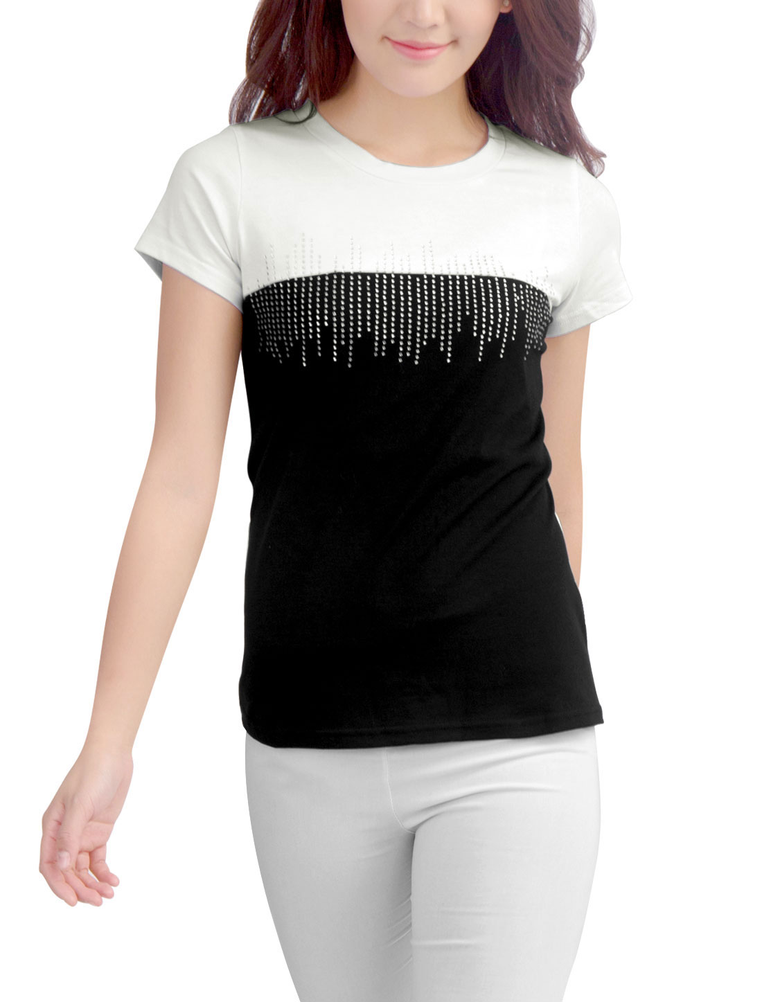 Chic Rhinestones Studded Front Black White T-Shirt for Lady L