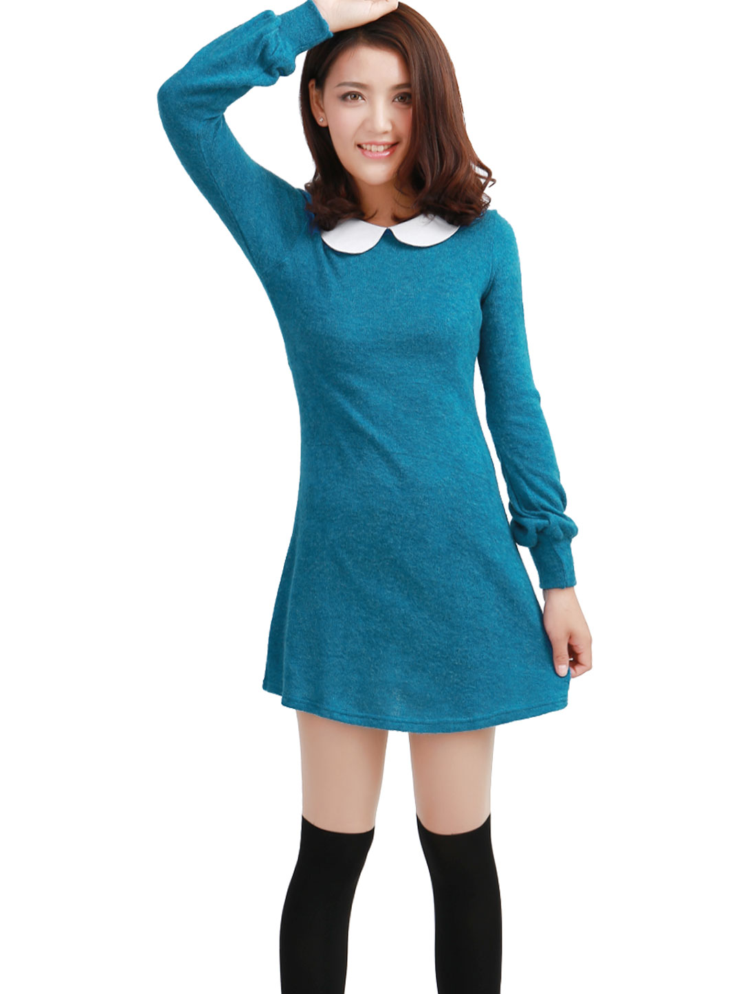 Woman Chic Doll Collar Long Sleeve Turquoise Knitted Mini Dress XS