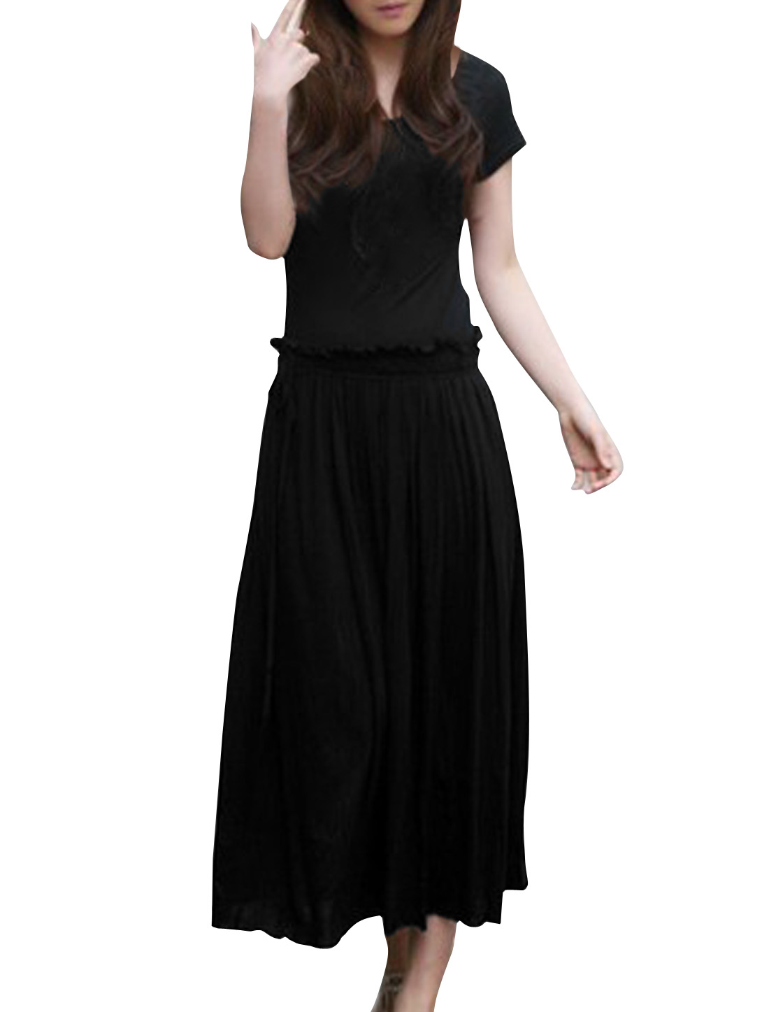 Woman Chic Scoop Neck Drawstring Waist Design Black Mid-calf Dress M