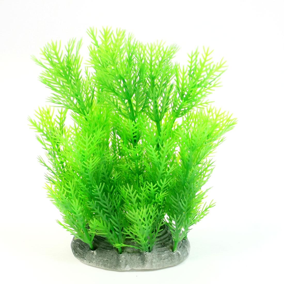 """Aquarium Fish Tanks Plastic Underwater Plant Ornament Green 6.3"""" High"""