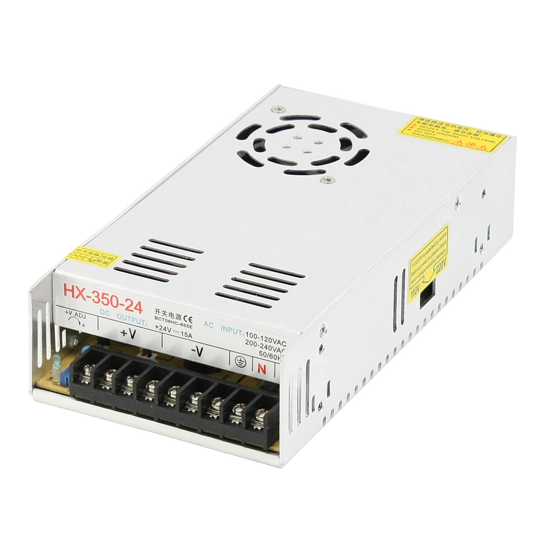 LED Strip Illuminated Switching Power Supply Driver 360W 200-240VAC DC24V 15A