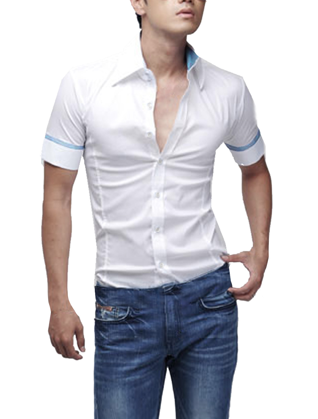 Men Fashion White Short-sleeved Single Breasted Round Hem Top Shirt L