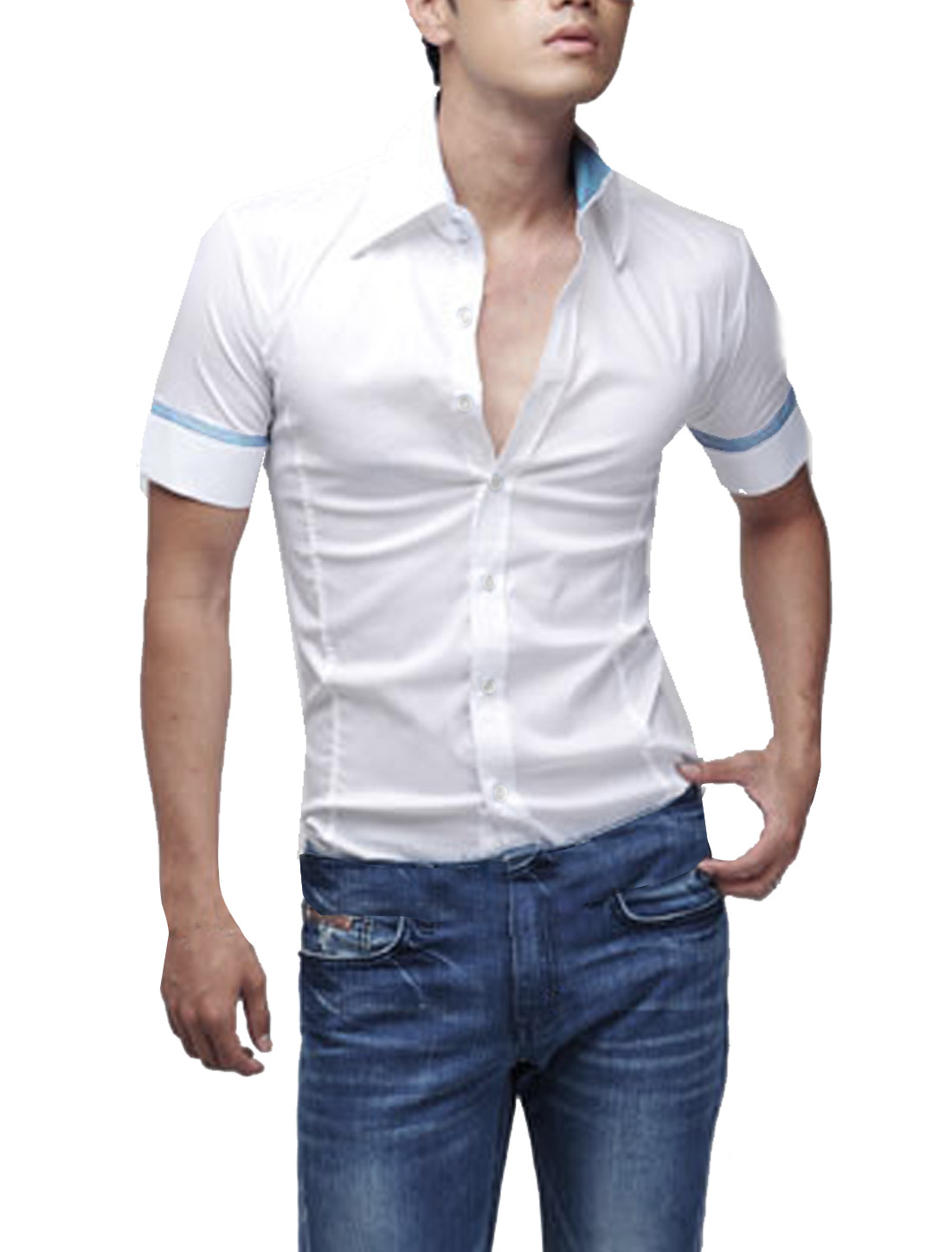 Mens White Stylish Button Down Round Hem Summer Top Shirt XL