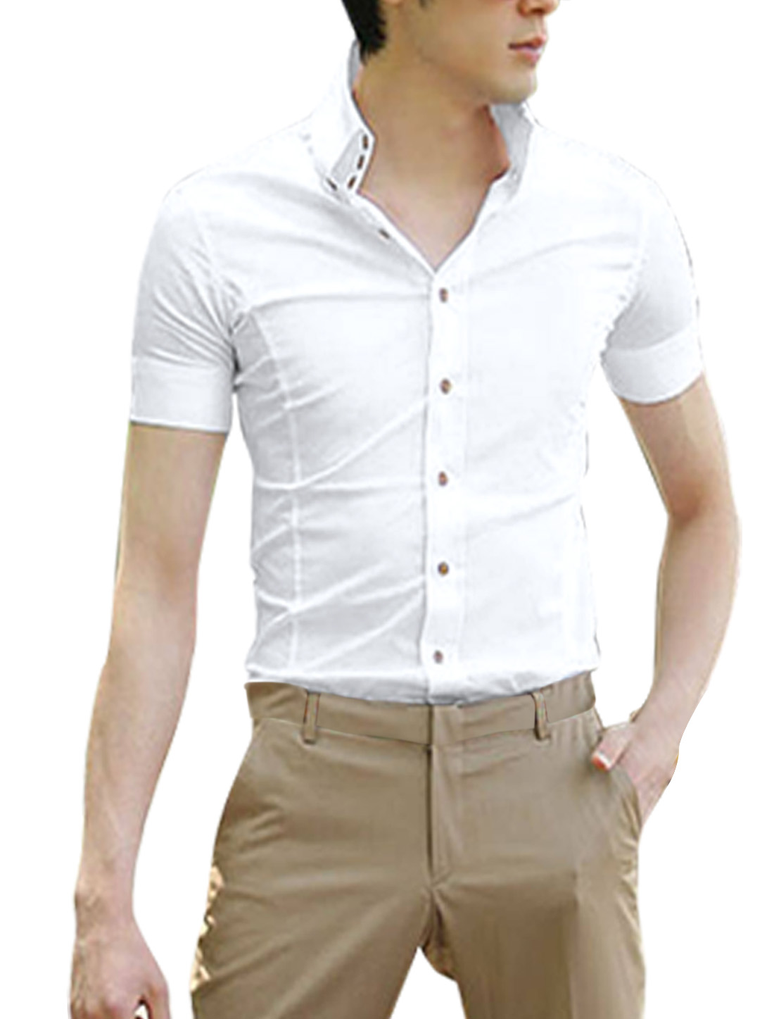 Mens White Single Breasted Round Hem Tab Collar Slim Shirt Tops L