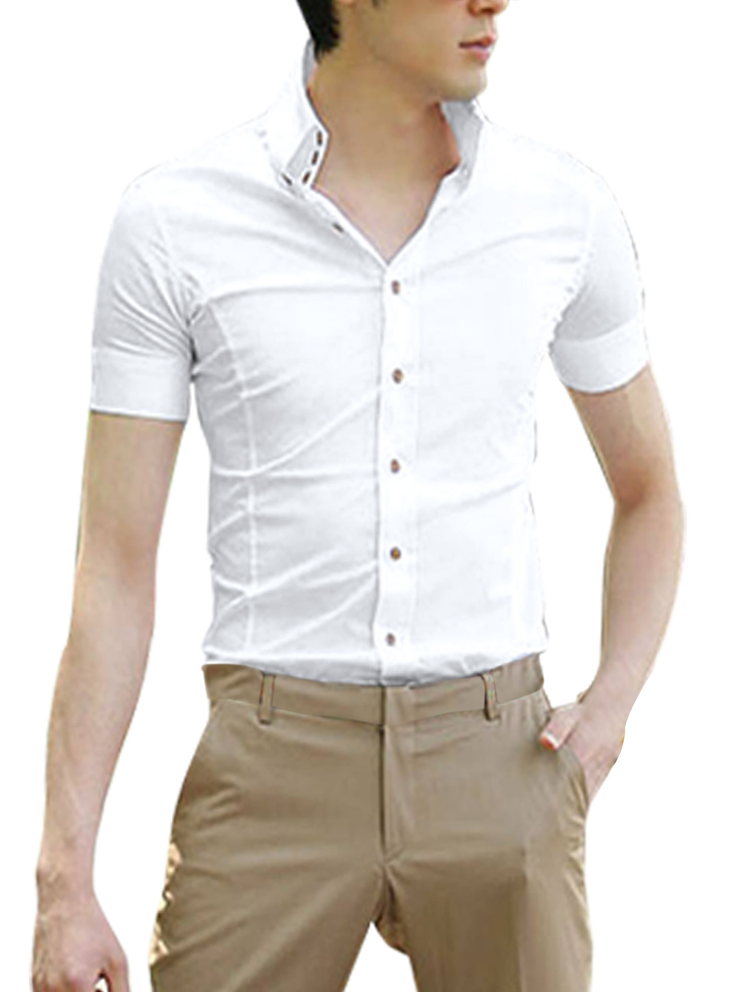 Men White Short Sleeve Button Down Tab Collar Casual Slim Shirt L