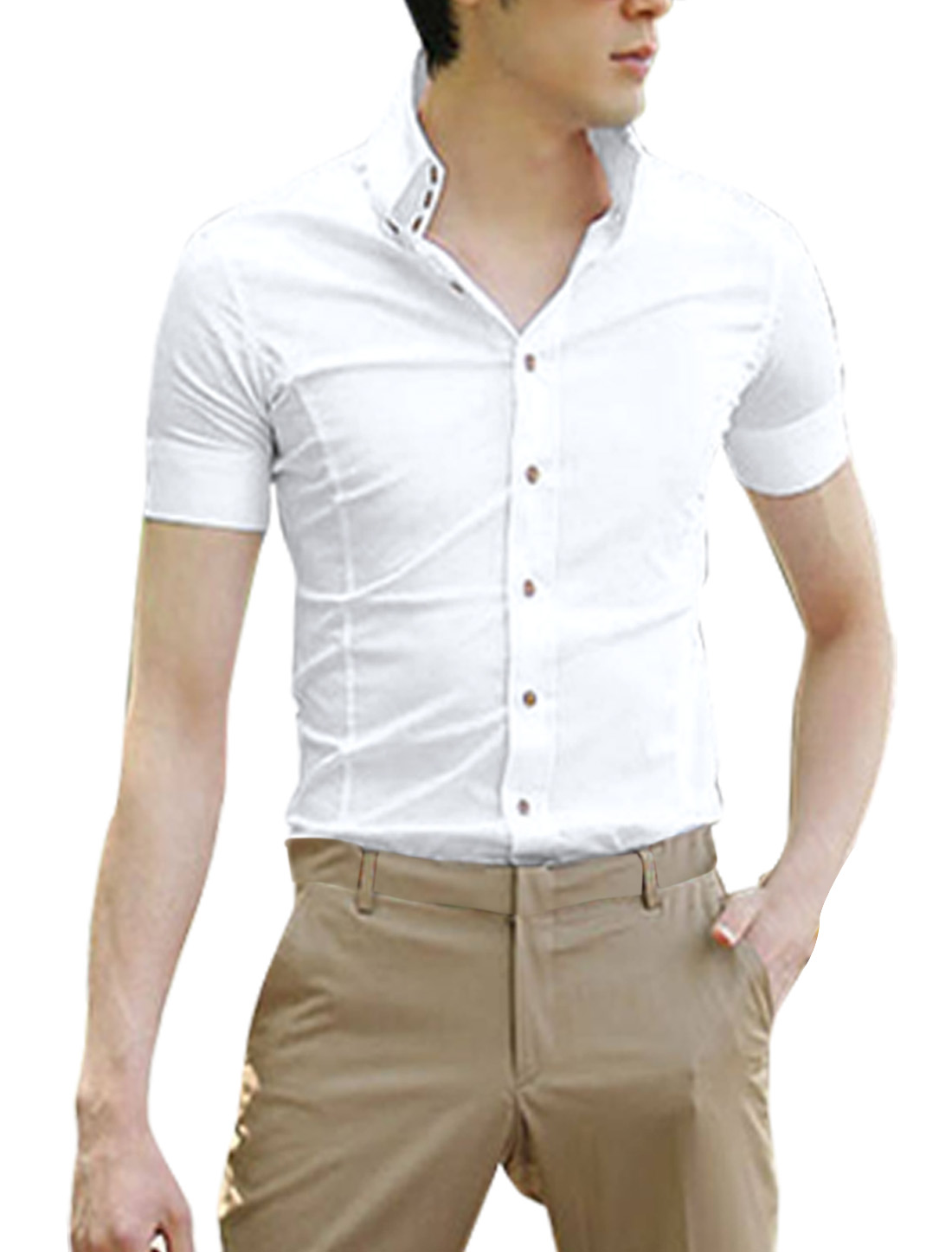 Men's White Single Breasted Round Hem Simple Slim Casual Shirt XL