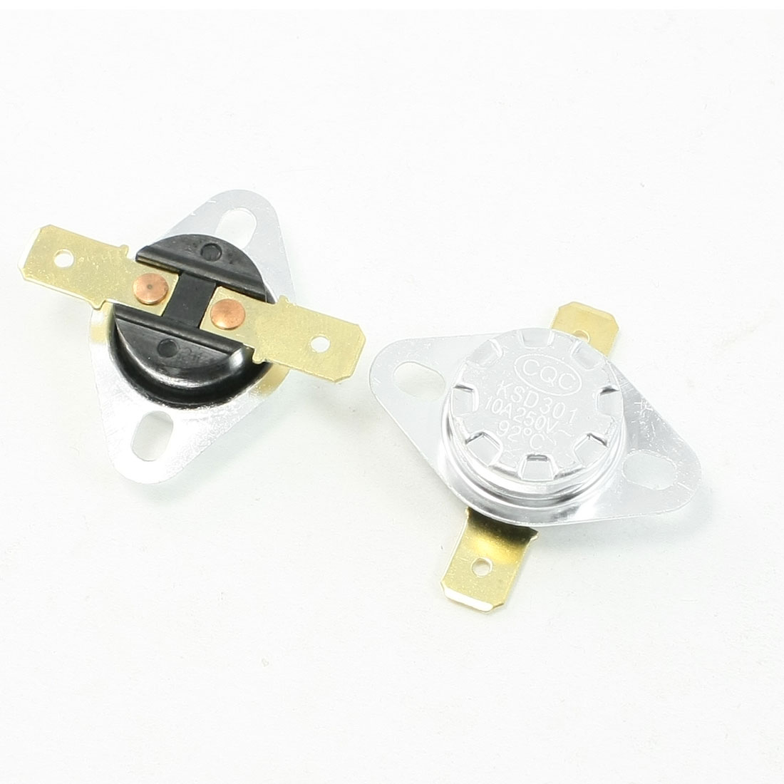 AC 250V 10A Normal Close 92C Temperature Control Switch Bimetal Thermostat 2 PCS
