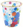 Colorful Dot Printed Gold Tone Rim Clear Plastic Garbage Pail