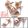 Women Peep Toe Flower Pattern Sandals Camel Silver Tone US 7