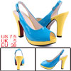 Ladies NEW Open Toe Contrast Color Blue Yellow Slingback Sandals US 7.5