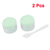 2 Pcs Pale Green Clear Compact Plastic Make Up Face Cream Empty Container
