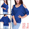 Ladies Chic Scoop Neck 3/4 Sleeve Design Pure Royalblue Tops S