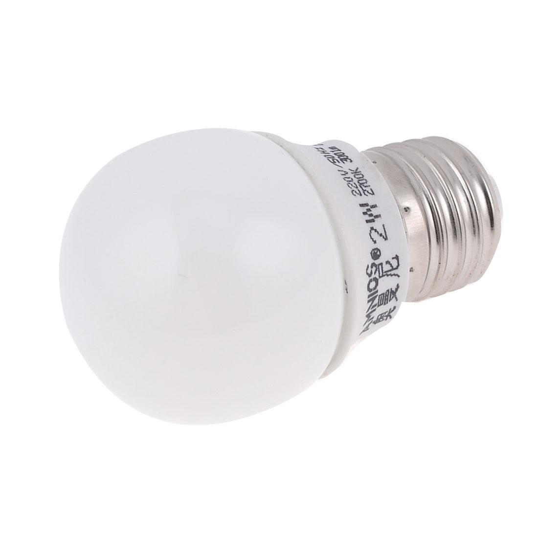 E27 Base 2W AC 220V Warm White Light Ball Shape LED Bulb Lamp