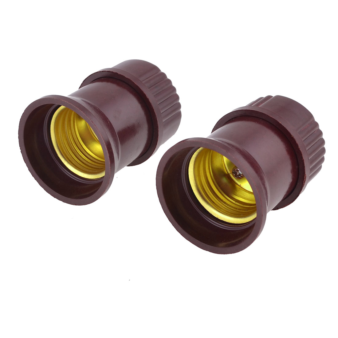 Pair Burgundy Plastic Housing AC 250V 6A E27 Bulb Socket Light Adapter