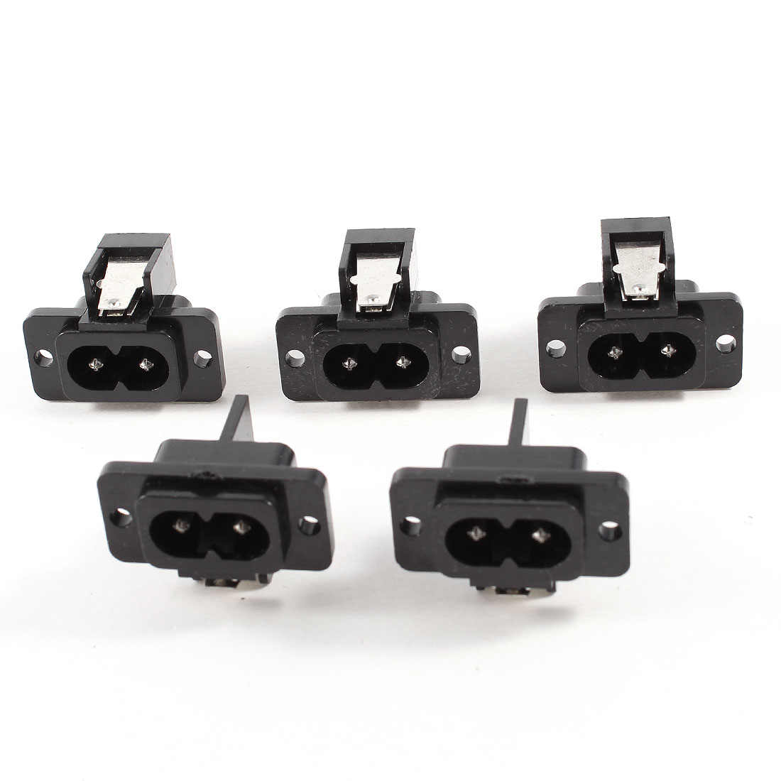 5 Pcs AC 250V 7A 2 Poles IEC320 C8 Power Inlet Socket Connector