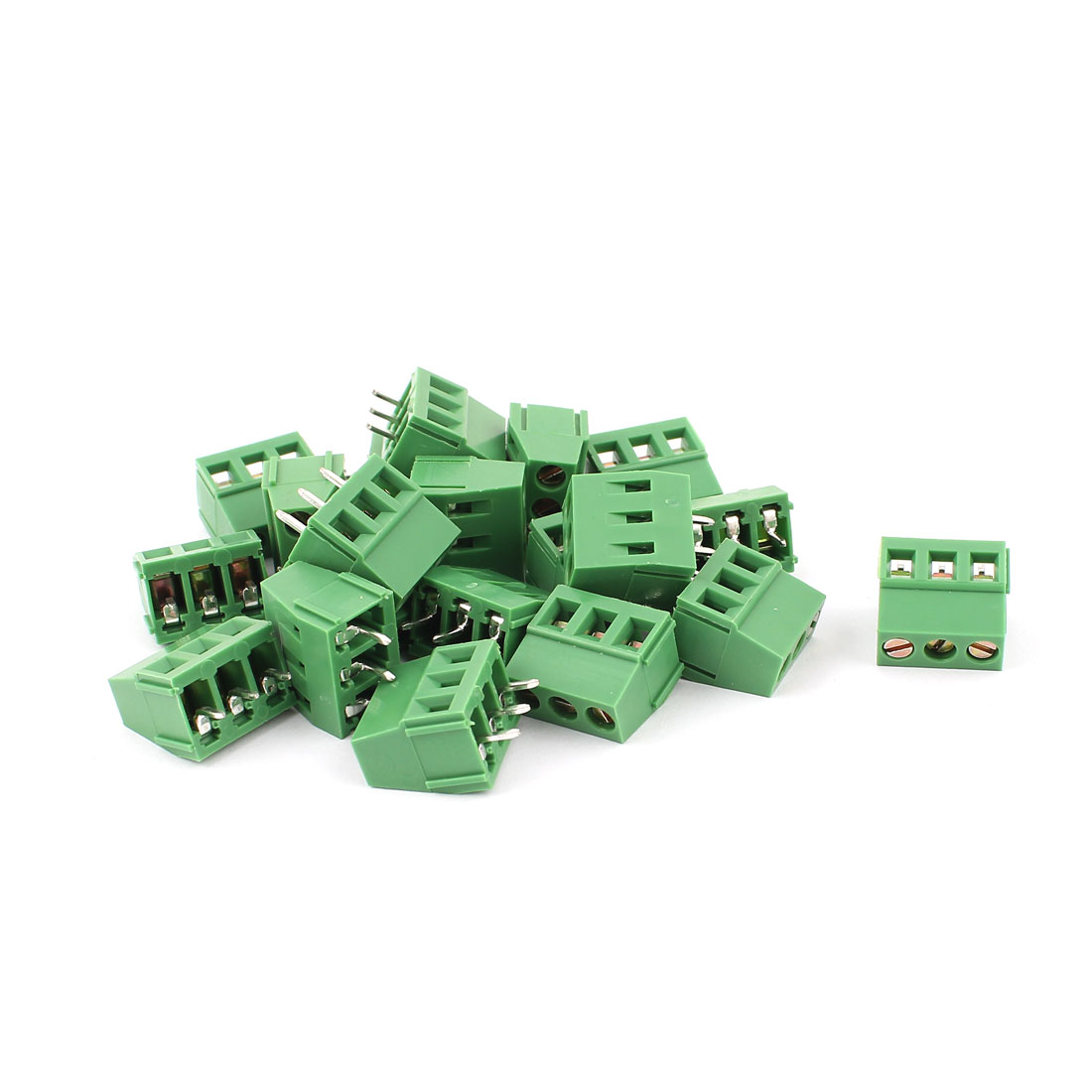 20 Pcs 3 Terminals 5.08mm Pitch PCB Mount Screw Terminal Block AC 250V 8A