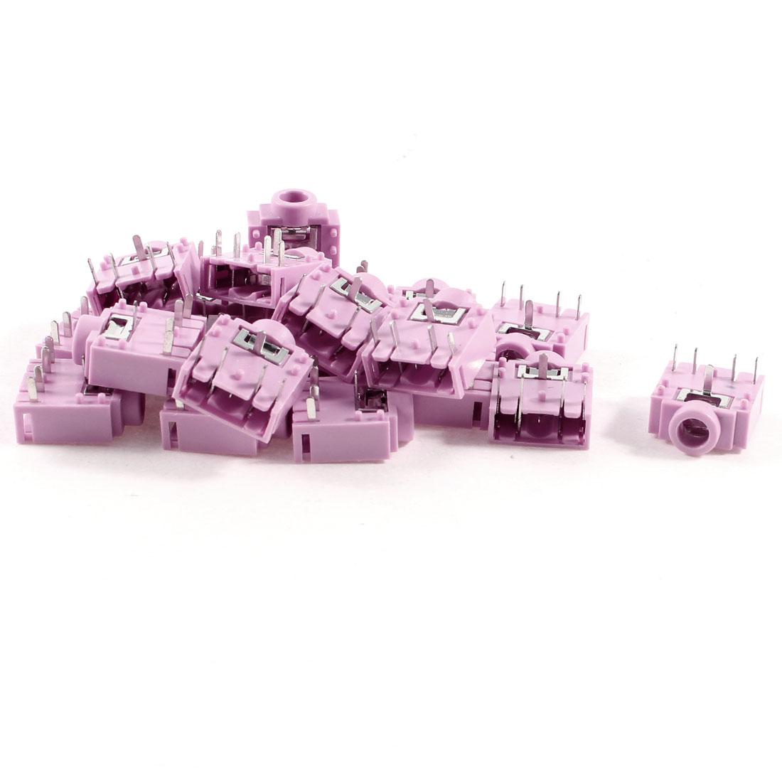 20 Pcs 5 Pins 3.5mm Female Socket Headphone Stereo Audio Jack Pink