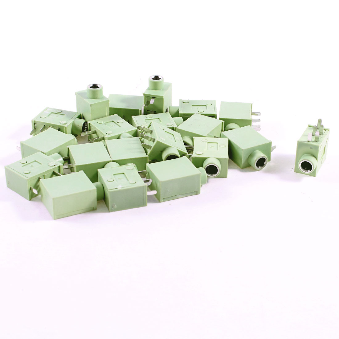 20 Pcs 5 Pins Right Angle 3.5mm Female Stereo Socket Headphone Jack Green