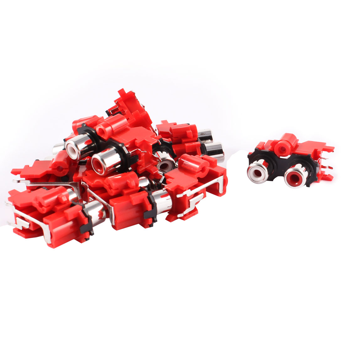 10 Pcs Red Plastic Double 3.5mm RCA Female Socket AV Connector Adapter