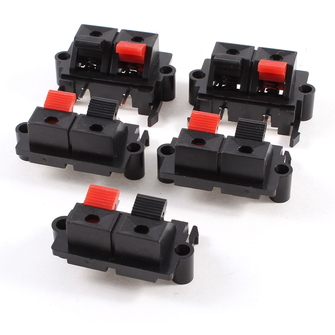 5 Pcs 38mm x 20mm 2 Positions Push in Jack Spring Load Audio Speaker Terminals