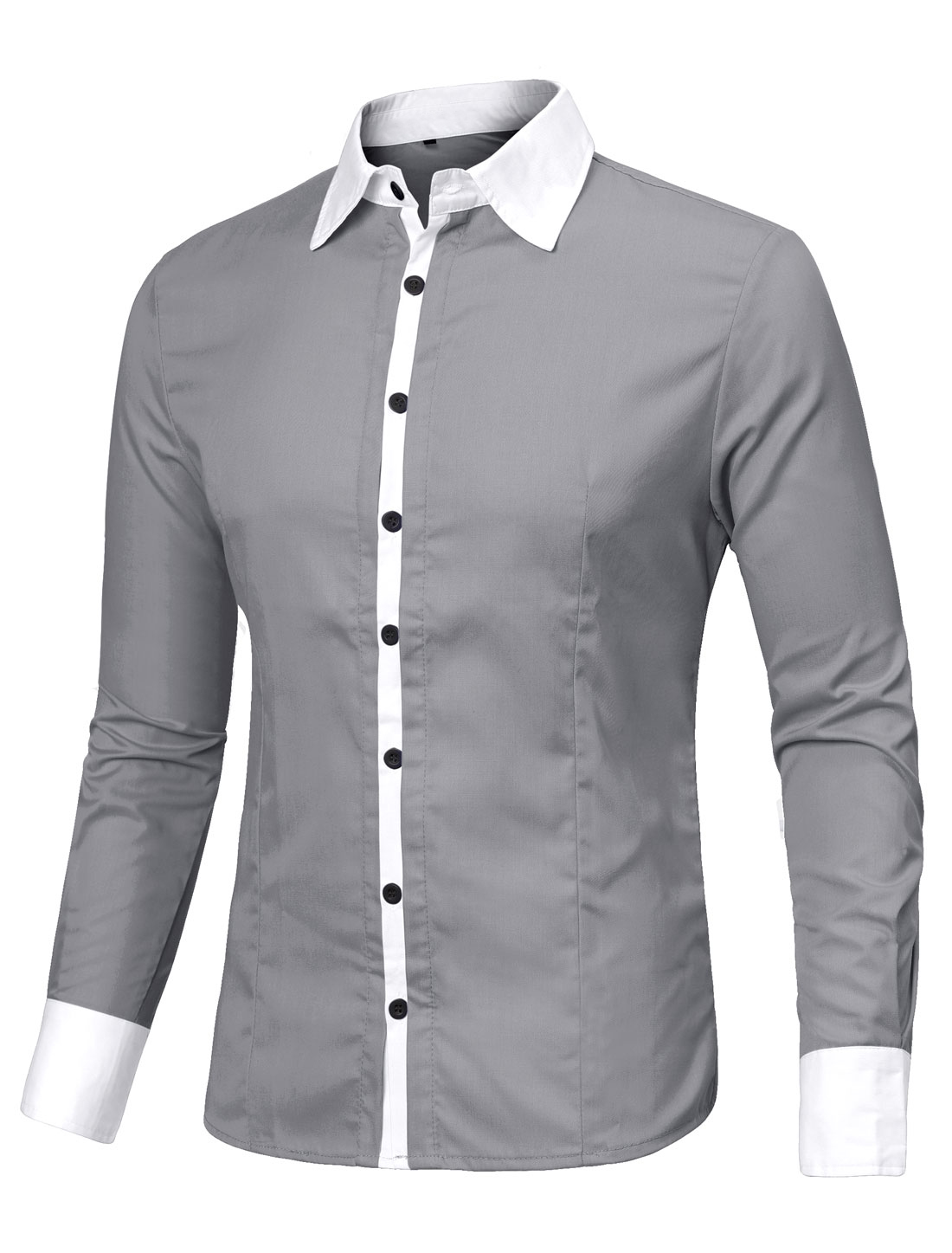 Men Light Gray Long-sleeved Button Down Round Hem Slim Shirt L