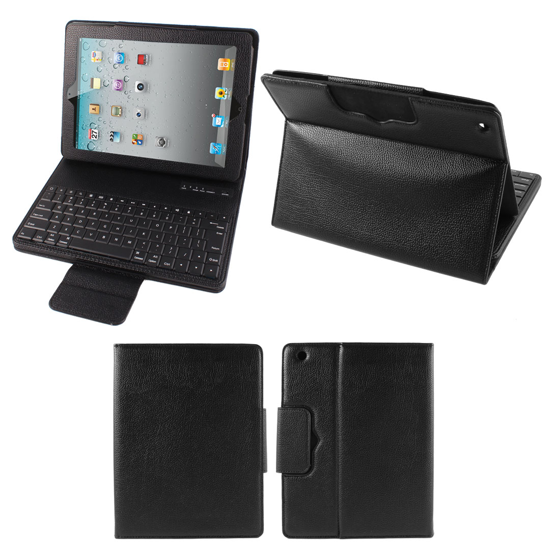 Black bluetooth 3.0 Wireless Keyboard PU Leather Case Stand for Apple iPad 2 3 4
