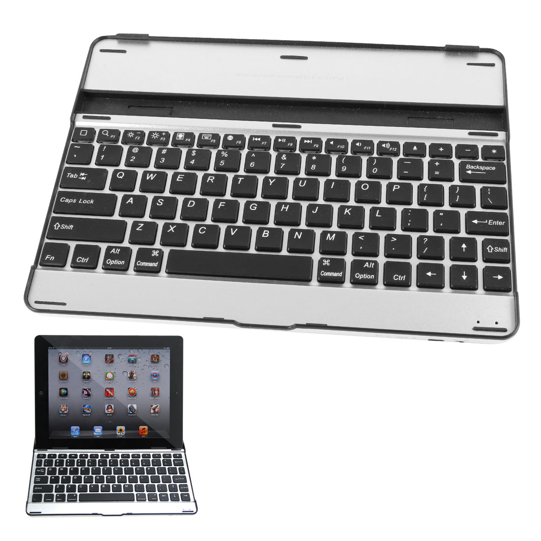 Black Silver Tone Aluminum Shell Wireless bluetooth Keyboard for Apple iPad 2 3