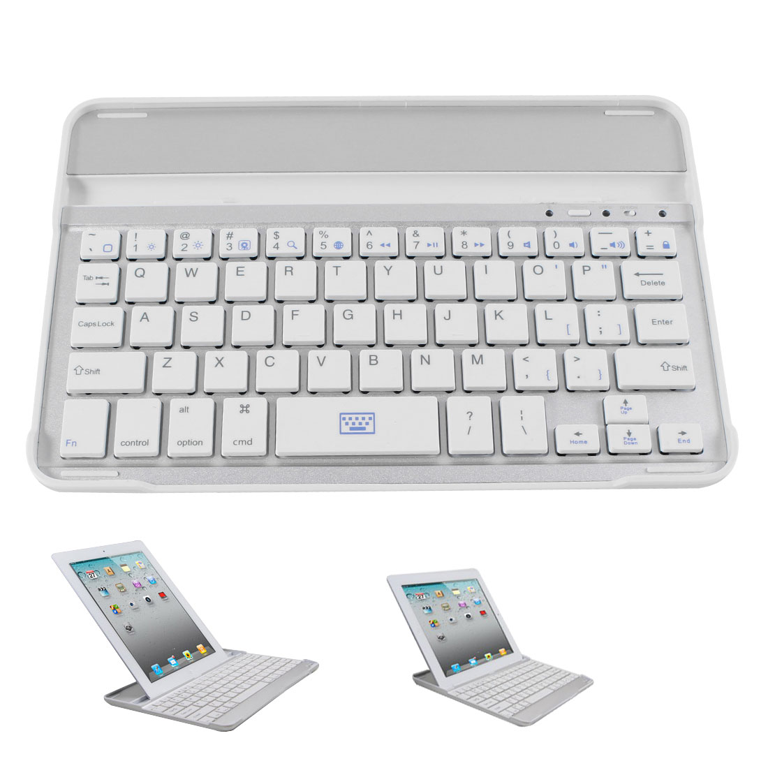 White Silver Tone Aluminum Shell Wireless bluetooth Keyboard for Apple iPad Mini