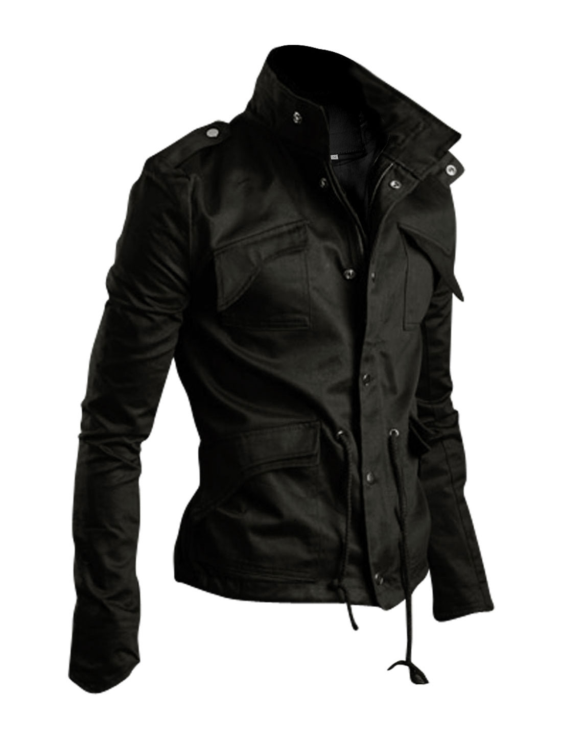 Men Black Stylish Button Down Button-tabs Drawstring Casual Jacket L