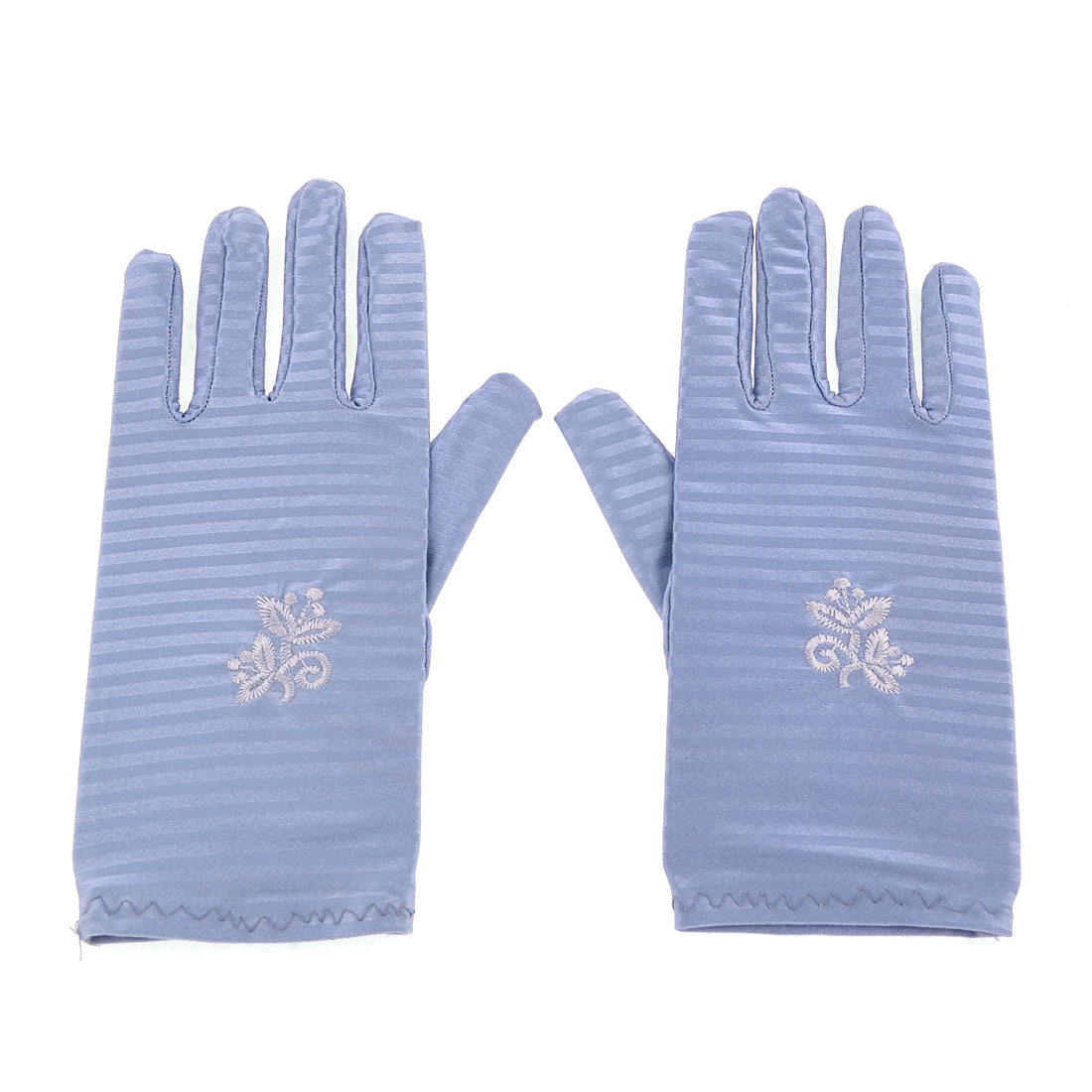 Women Blue Flower Pattern Short Wrist Suncare Full Finger Gloves Pair