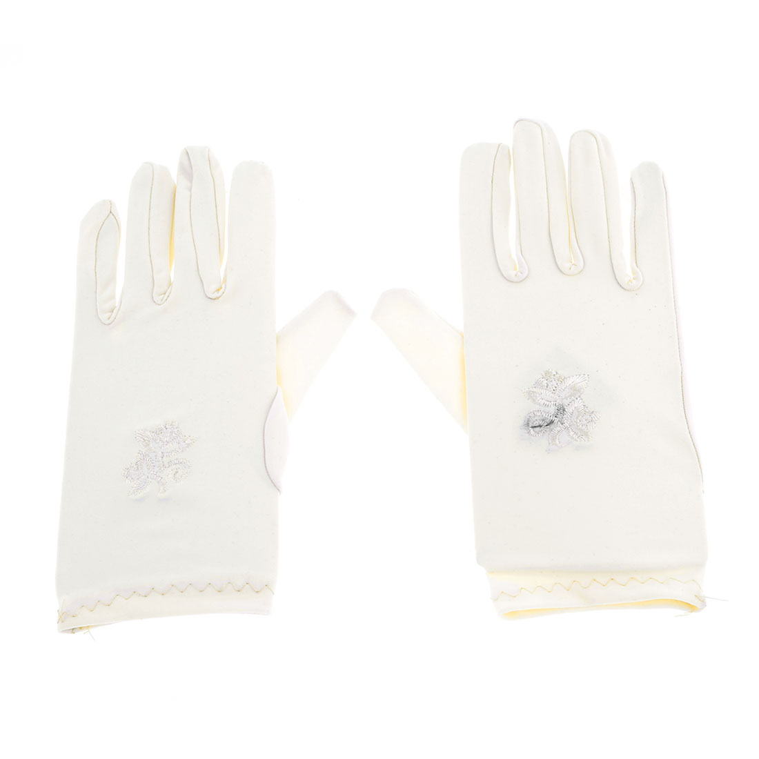 Women Flower Pattern Short Wrist Off White Suncare Full Finger Gloves Pair