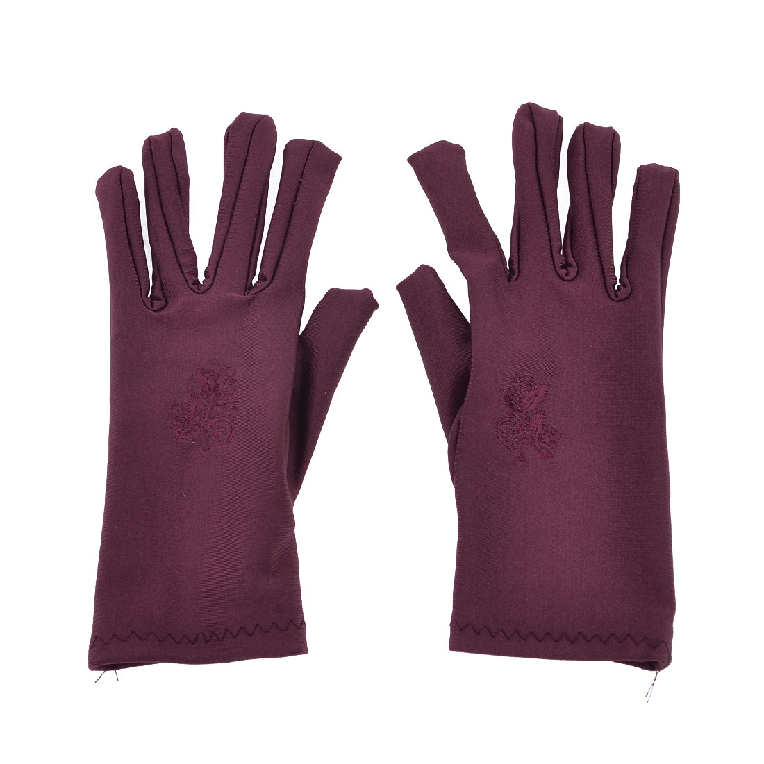 Ladies Flower Pattern Short Wrist Burgundy Suncare Full Finger Gloves Pair