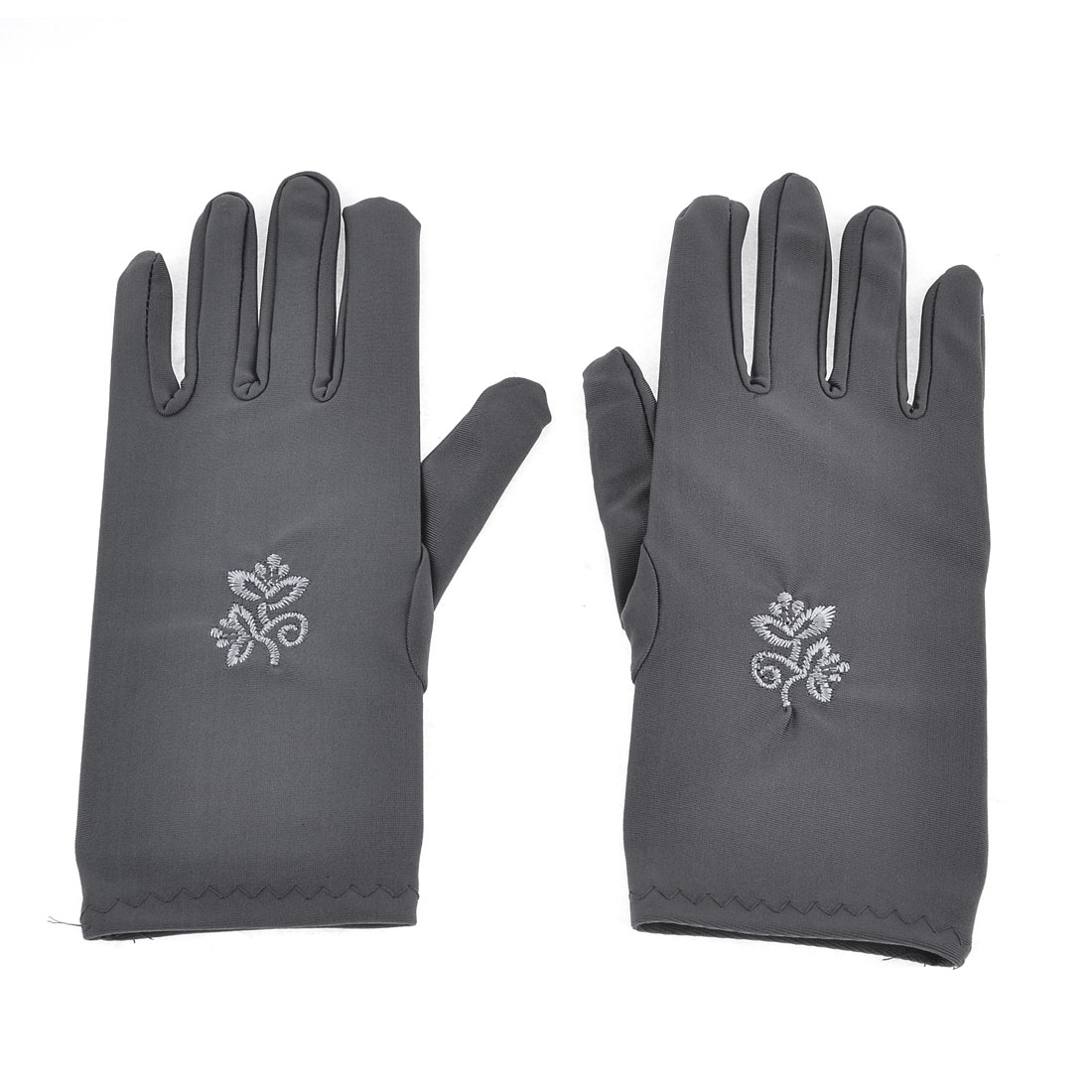 Pair Flower Pattern Short Wrist Dark Gray Suncare Full Finger Gloves for Ladies