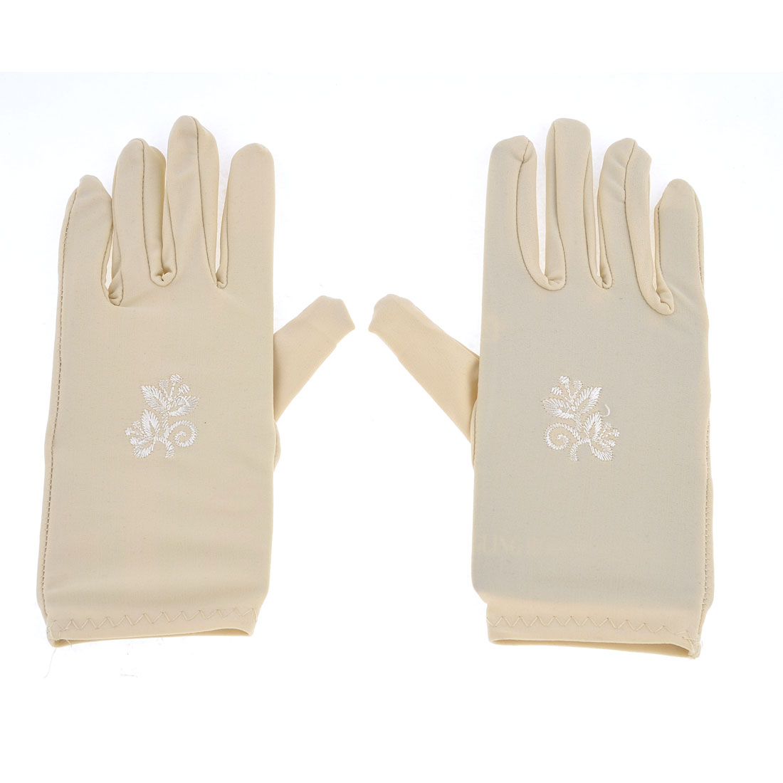 Women Flower Pattern Short Wrist Beige Suncare Full Finger Gloves Pair