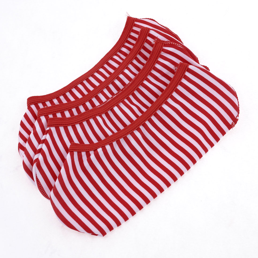2 Pairs Low Cut Red White Stripes Pattern Textured Stretch Boat Socks for Woman