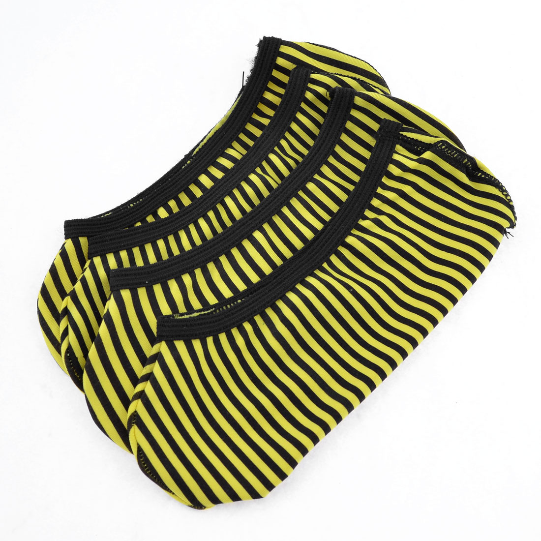 2 Pairs Low Cut Yellow Black Stripes Print Stretchy Boat Socks for Woman