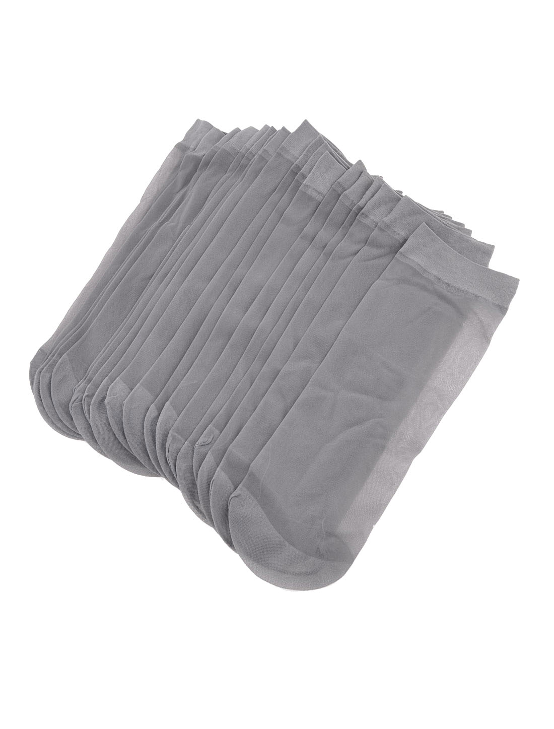 10 Pairs Transparent Polyester Gray Elastic Sheer Socks for Women Lady