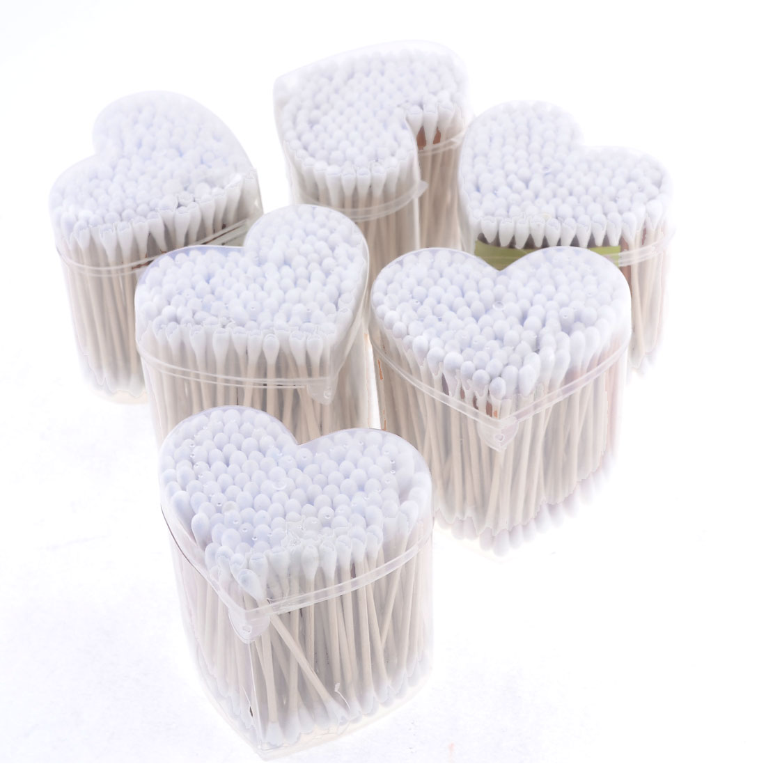 6 Heart Boxes 900 Pcs Wood Rod White Double Ended Cotton Buds