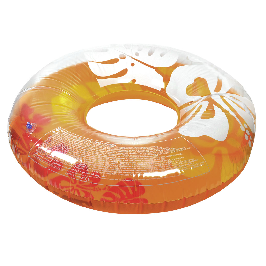 Adult Yellow Clear PVC Flower Print Inflatable Swim Ring