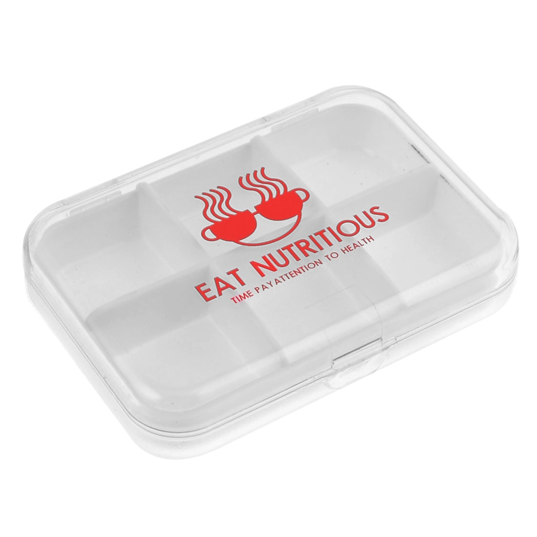 Red Letter Print Clear Plastic Detachable 6 Slots Case Storage Compartments Box