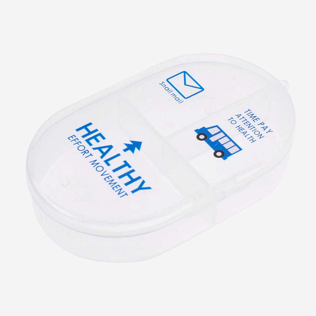 Oval Shape Blue Tree Print Clear 3 Slots Earrings Organizer Storage Box Holder