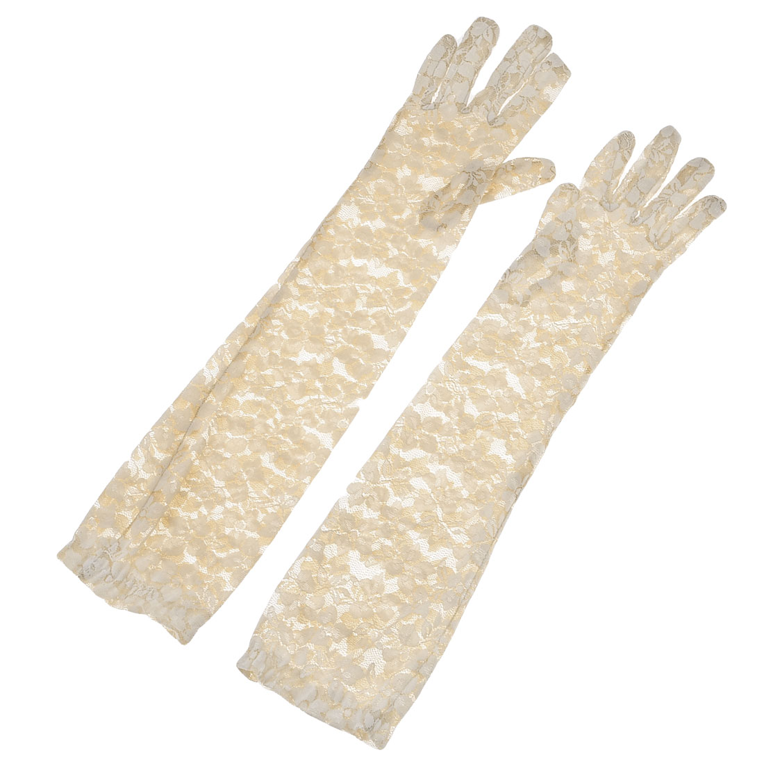Pair Party Fullfinger Elbow Length Floral Pattern Lace Gloves Beige for Lady