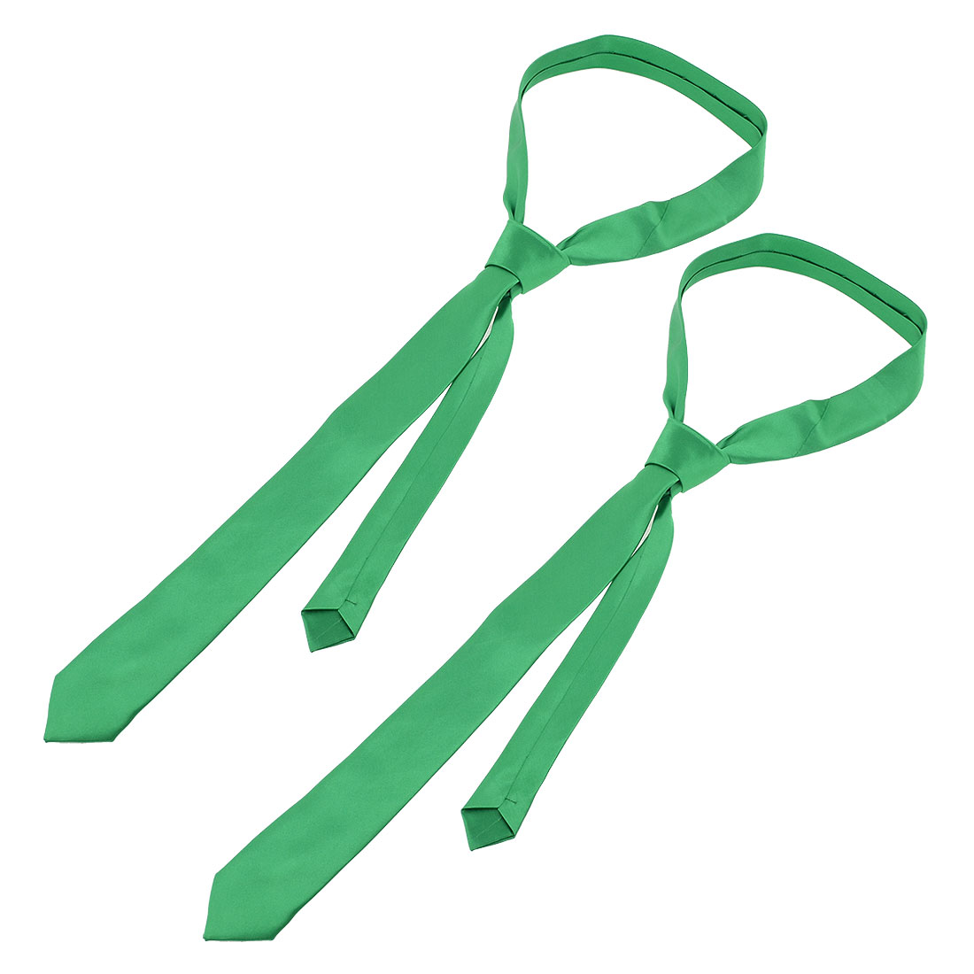 "2 Pcs 56 1/4 Inches Long 2"" Wide Green Polyester Self Tie Necktie for Man"