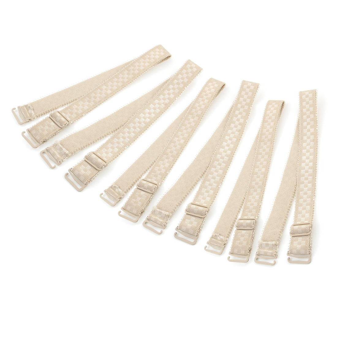 Woman Beige Plastic Hook End Adjustable Elastic Bra Shoulder Straps Bands 6pcs