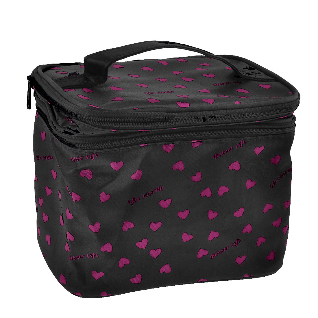 Black Pink Dotted Double Layer Zipper Toiletry Case Cosmetic Bag w Mirror
