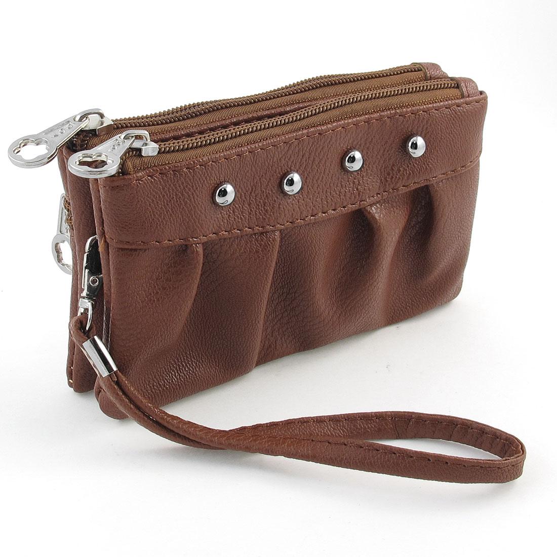 Laides Stud Pattern Faux Leather Zipper Closure Handbag Purse Brown