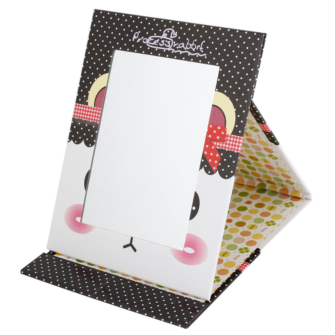 Women Black White Dotted Prints Beauty Makeup Table Stand Plastic Folding Mirror