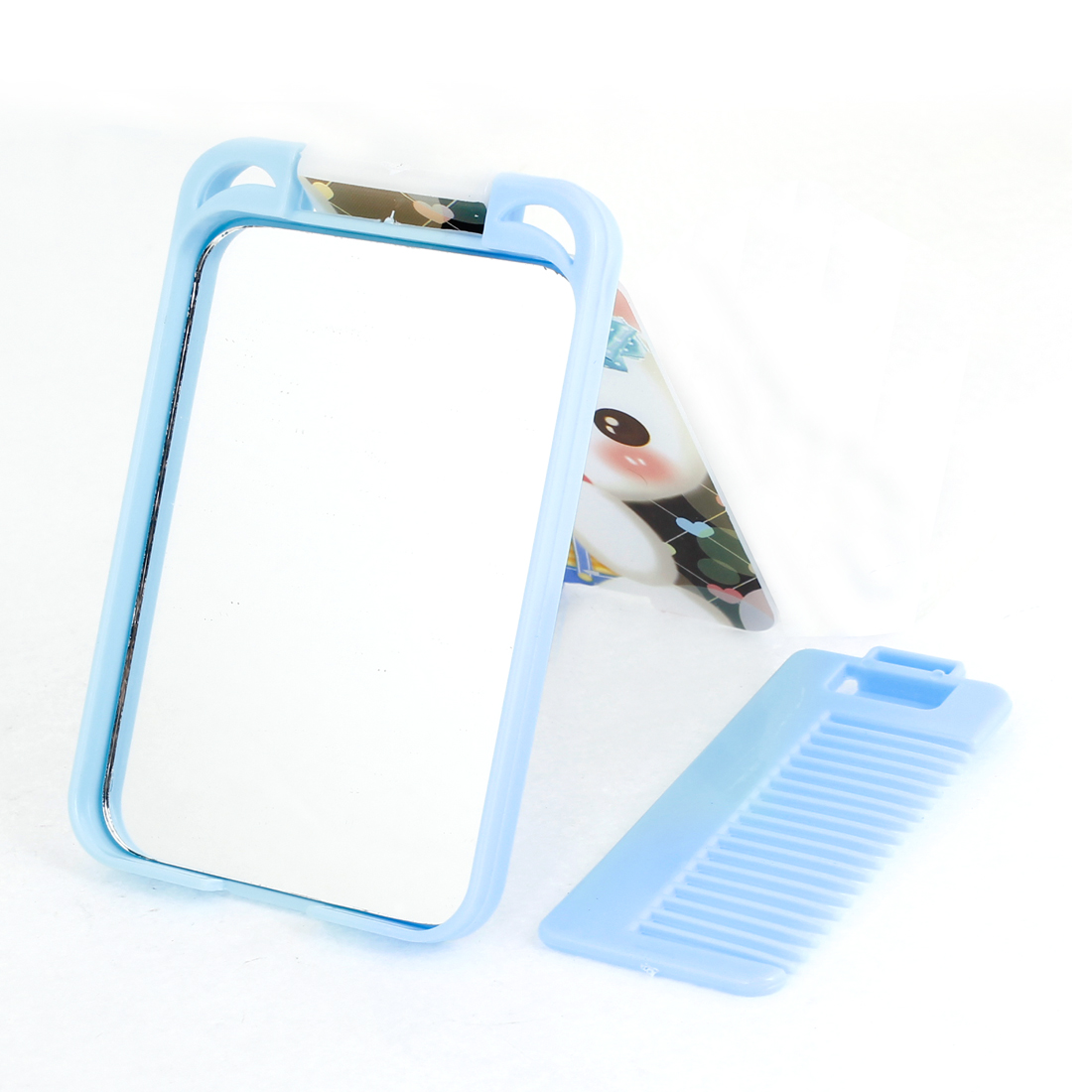Woman Lady Bear Printed Plastic Cosmetic Make up Mirror Light Blue