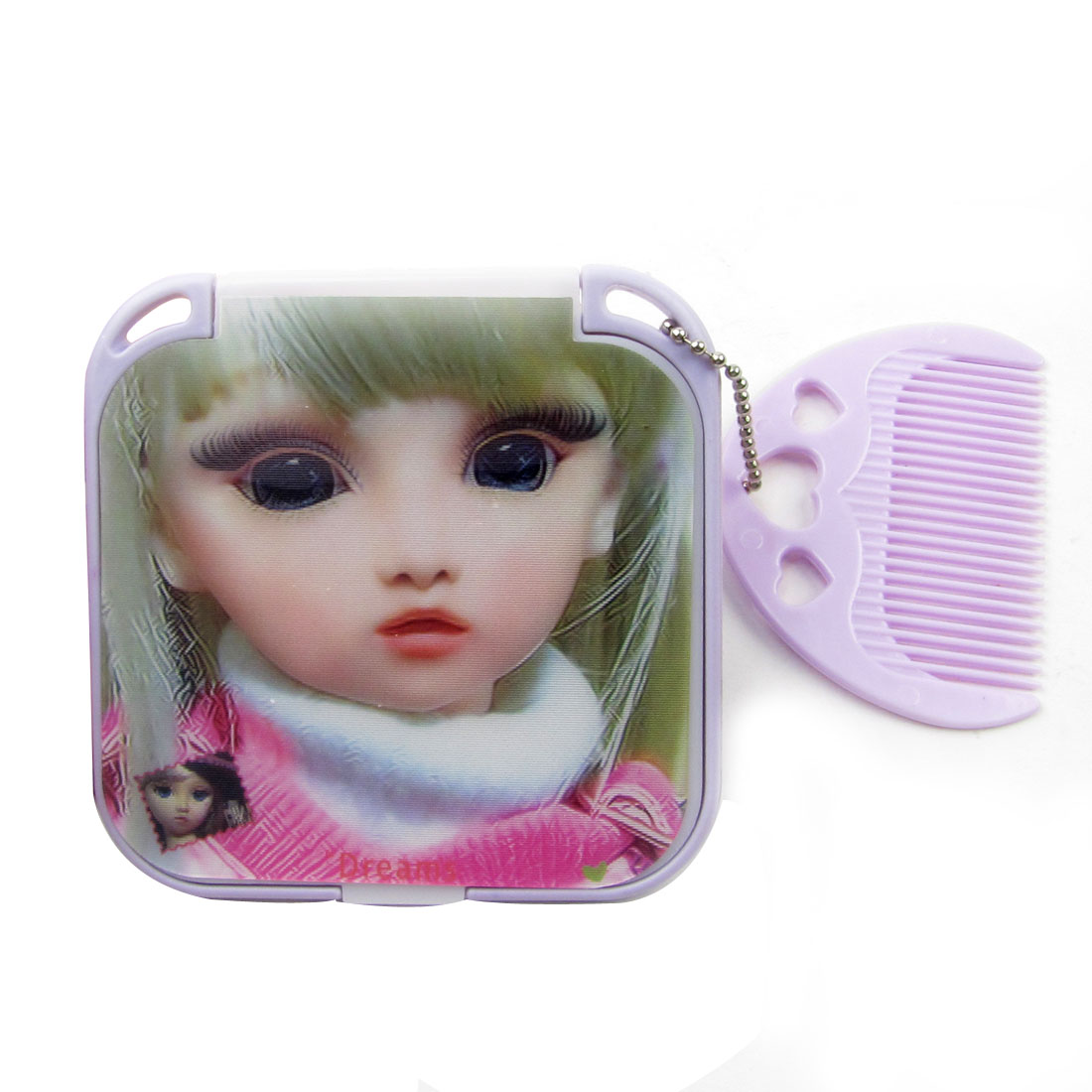 Lady Make up Tool Cartoon Cover Square Design Folding Handheld Mirror w Comb