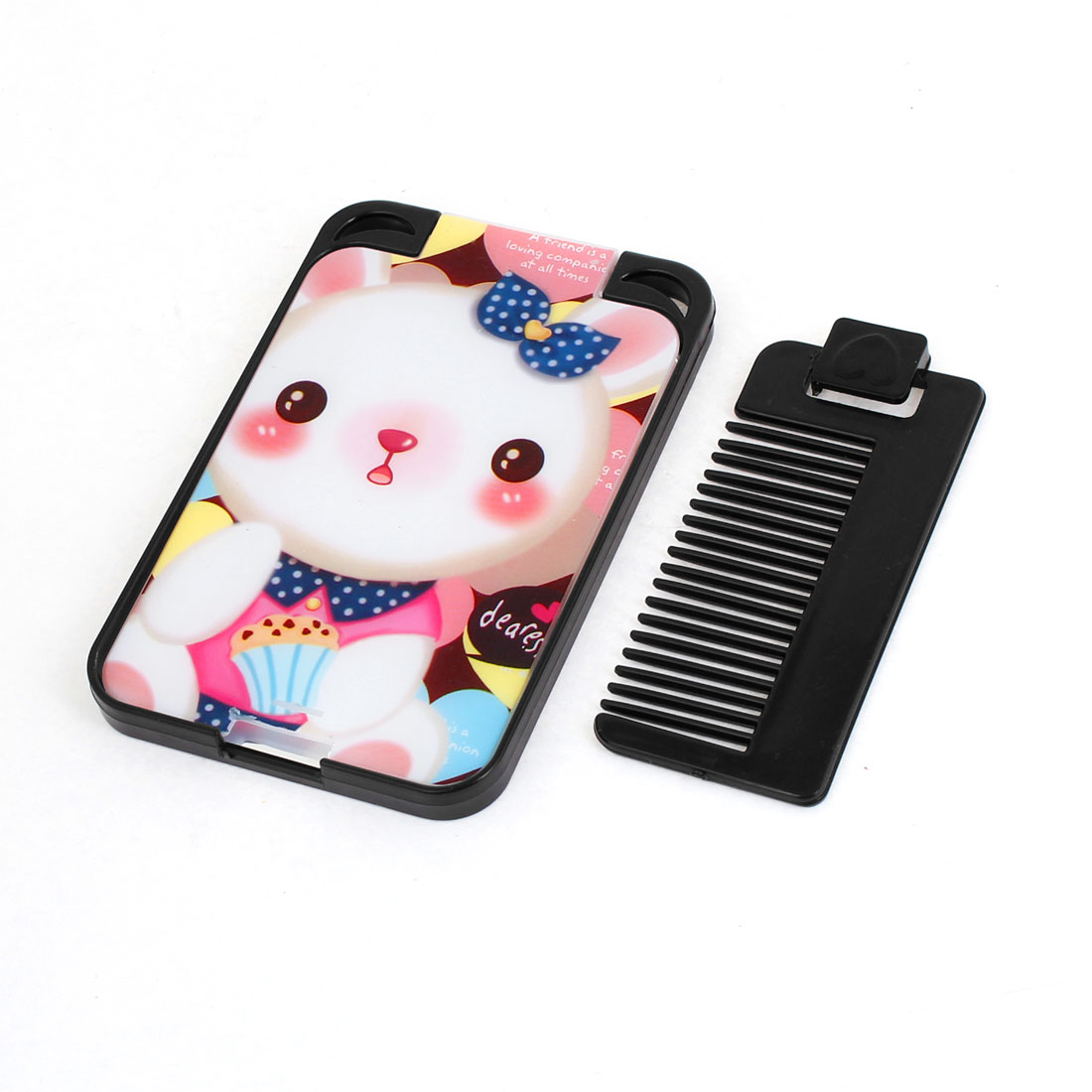 Bear Pattern Black Plastic Make up Mirror w Comb for Ladies